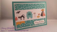 Stampin up motley monsters dsp, made using only the dsp!! Kids birthday card.