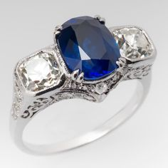 Vintage 3 Carat Cushion Blue Sapphire & Old Mine Diamond Ring: Earrings Ruby Sapphire Jewelry, Bling Jewelry, Sapphire Rings, Jewlery, Ruby Rings, Bullet Jewelry, Geek Jewelry, Gothic Jewelry, Antique Jewelry