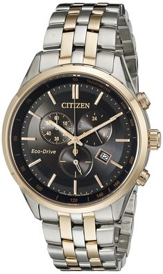 SAPPHIRE COLLECTION: Add a touch of sophistication to your watch collection with this dress chronograph watch from Citizen. This handsome watch in rose gold two-tone stainless steel with a black dial. Fossil Watches For Men, Luxury Watches For Men, Cool Watches, Men's Watches, Titanium Watches, Affordable Watches, Citizen Eco, Rose Gold Watches, Stainless Steel Bracelet