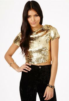 Akari Disco Ball Crop Top - Tops - Bralets and Crop Tops - Missguided