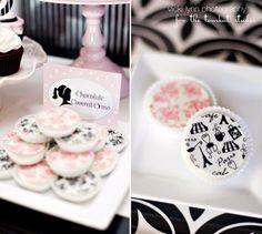 1 Dozen Paris and Pink Damask Set Chocolate Covered Oreos Birthday Party Favor. $22.00, via Etsy.