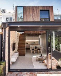 No photo description available. Container House Design, Small House Design, Modern House Design, Narrow House Designs, Loft Design, Home Room Design, Casas Containers, Loft House, Modern Architecture