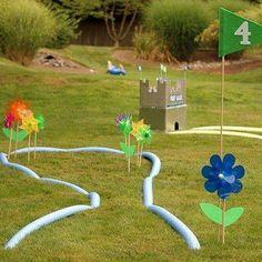 repurposed beach noodles = toddler mini golf course!