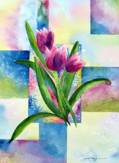 Tulips Squared Painting  - Tulips Squared Fine Art Print