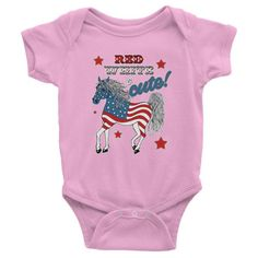 Red White and Cute Infant short sleeve one-piece