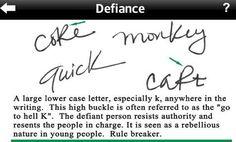 Defiance shown in handwriting