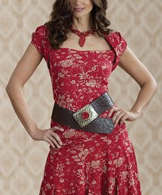 Country Flair -Red Vine Rose Textured Top (shown with matching skirt)