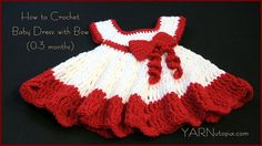 In this video I demonstrate how to crochet a dress and embellish it with a bow. I used all Red Heart yarn in white and red. Teacher: Nadia Fuad Video and Edi...
