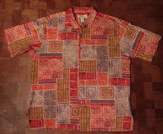 Exceptional Tori Richard abstract tribal pattern Hawaiian shirt XL EXTRA LARGE #ToriRichard #ButtonFront