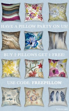 Pillow Party! Mix and match to create your own unique style today! Buy 2, get 1 free
