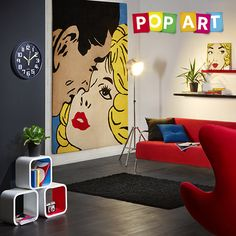 Popart Pull Together A Pop Art Inspired Room With Bright Punches Of Colour.