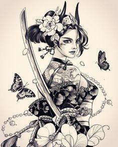 Geisha Tattoos, Tatoo Geisha, Geisha Tattoo Design, Japan Tattoo Design, Geisha Art, Body Art Tattoos, Tattoo Drawings, Girl Tattoos, Sleeve Tattoos