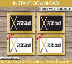 Gold Star Wars Food Labels | Food Buffet Tags | Place Cards | Birthday Party | Editable DIY Template | $3.00 INSTANT DOWNLOAD via SIMONEmadeit.com