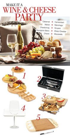 MAKE IT A WINE AND CHEESE PARTY   So grab the plate, serving tray and wine – dont forget the cheese – for a simple yet delicious appetizerat your fabulous outdoor soiree (okay, or while watching a guilty pleasure reality show with friends). No matter the occasion, these pairings wont disappoint. 1. REGALIO SERVING TRAY SET || 2. WINE ACCESSORY SET || 3. CONCAVO CHEESE TRAY SET || 4. WINE AND CHEESE PLATE || 5. DELIO CHEESE TRAY WITH INDICATORS