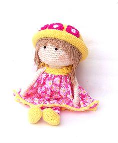 Crochet Doll pink dress  13 33cm от TootyLou на Etsy, $45.00