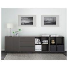 EKET Cabinet combination with feet - dark grey - IKEA Eket, Ikea, Living Room Storage Cabinet, Open Plan Living Room, Small Bedroom Hacks, Living Room Tv, Ikea Living Room, Kitchen Wall Decor, Home Decor