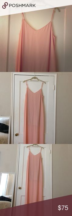 SHOW ME YOUR MUMU: Jolie Maxi Dress NEVER BEEN WORN. OPEN TO OFFERS!! Purchased for a wedding but ended up wearing another dress. Light Pink/ Blush, spaghetti strap maxi. Open back. Partially-lined from shoulder to mid-thigh with adjustable straps and a slit in the back (about 10 inches). For reference, I am 5'9, 130lbs/34B and it was long enough to hit the floor when I tried it on. (*Tags not included, I took them off too quickly after purchasing) Show Me Your MuMu Dresses Maxi
