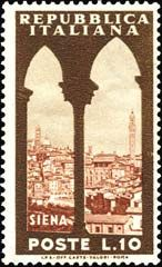 Sello: Siena and Tower of Mangia (Italia) (Tourist Attractions) Mi:IT 727 Postage Stamp Collection, Siena, Stamp Collecting, Postage Stamps, Beautiful Landscapes, Taj Mahal, Poster, Around The Worlds, Gallery