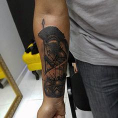 Inner Forearm Male Spear Spartan Tattoos
