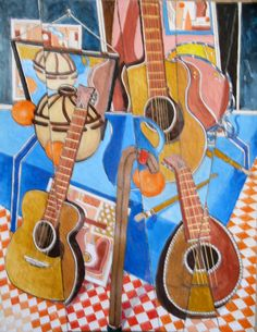 """""""Refractions: Three Guitars"""" by Morrie Rohrlick, 19"""" x 25"""" (framed), acrylics on paper $695 (#197)"""
