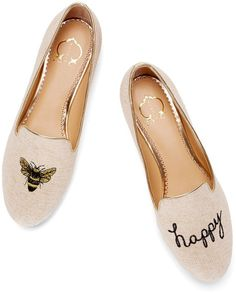 C Wonder Bee Happy Smoking Slipper (US size like new! slight naturally occurring discoloring in a few spots (the sparkles darkened a bit, please see close up) C Wonder Shoes Flats & Loafers Cute Shoes, Me Too Shoes, Happy Shoes, C Wonder, Smoking Slippers, Smoking Flats, Bee Happy, Shoes Sandals, Heels