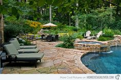15 Swimming Pool Decks with Stone and Pavers   Home Design Lover