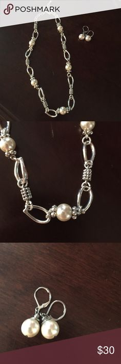 Silver link and pearl set Very pretty necklace and earring set willing to split up if interested. Love the links of this unique set. Willing to negotiate price as well Cookie Lee Jewelry Necklaces