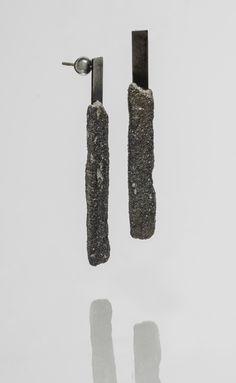 Ruins earrings, steel, concrete, sterling silver - StudioChecha
