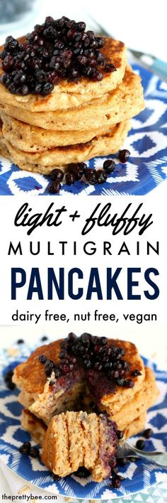 Light and fluffyvegan  multigrain pancakes are a wonderful way to start your day! Top with a warm blueberry sauce for breakfast perfection!