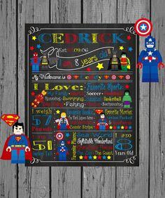 Legoe Lego Legoes Super Heroes Chalkboard Printable Birthday Decorations DC Comics The Avengers Superman Thor Spiderman Captain America Batman Robin