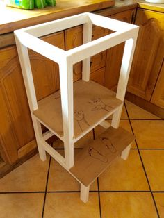 Childs counter top access tower with hand & footprints