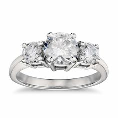 Classic Three-Stone Diamond Engagement Ring in 18K White Gold