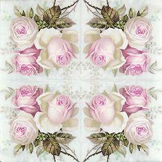 4x partido único cuadro papel Servilletas Para Decoupage Artesanales, Vintage Wild Rose, Mix