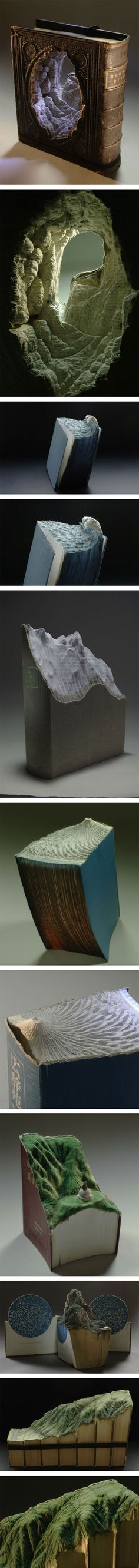 EPIC SHIT ** Awesome Carved Book Landscapes