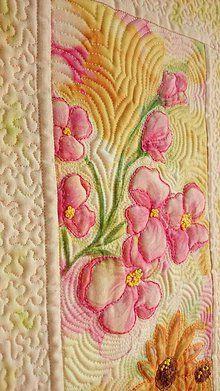 Dekorácie - Textilný obraz - kvetná nálada 2 - 7118187_