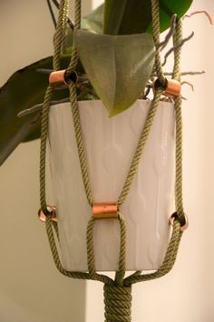 Medium/Large Macrame Plant Hanger with Copper by Macramedamare