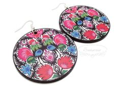 Decoupage folk earrings Wooden Jewelry, Decoupage, Folk, Decorative Plates, Coin Purse, Purses, Tableware, Earrings, Handbags