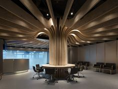 Airport lounge by Takao Shiotsuka, Oita   Japan office design  #curved #geometry