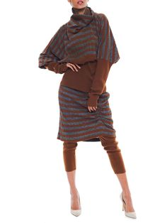 Vintage Issey Miyake Gray And Brown Striped Knit Dress