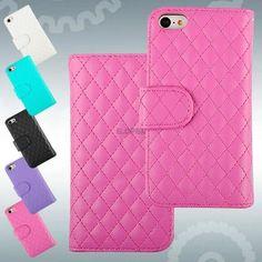 for iphone 5c faux leather folio case magnetic flip lattice wallet cover skin #UnbrandedGeneric