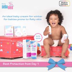#BabycarewithSebamed Winter is round the corner. Safeguard your baby's skin with Sebamed baby cream by ensuring the softness and smoothness enhanced by preventing dryness and moisture loss. It is an ideal cream prepared with 42% lipids water in oil emulsion, Panthenol, Allantoin and Chamomile soothes irritation and protects from nappy rash. pH 5.5 promotes acid mantle.