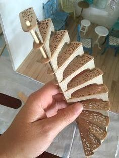 Partially constructed miniature spiral staircase, made by Amy Fletcher from mini amy blog. #WoodworkIdeas