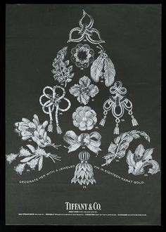 1966 Tiffany's jewelry Christmas tree- theme 15 jewel pin photo vintage print ad