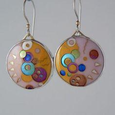 Abstract 24K Gold Cloisonne Enamel Earrings  by janvandiver for $745.00