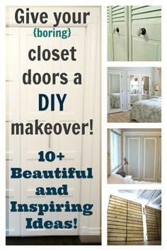 10+ simple and inspiring ways to give your closet doors a DIY upgrade ~ Need to check out to see if there's a solution to hide/get rid of HUGE mirror sliding doors.