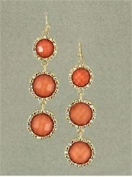 GOLD TONE 3 DROP EARRING IN CORAL