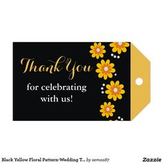 Black Yellow Floral Pattern-Wedding Thank You Pack Of Gift Tags