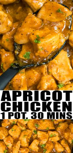 APRICOT CHICKEN RECIPE- Quick and easy, healthy, made with simple ingredients in one pot. This 30 minute meal is sweet and spicy with soft and tender chicken breasts. Can be baked or made in slow cooker/ crockpot, instant pot too. From OnePotRecipes.com #dinner #onepotmeal #onepotdinner #onepotrecipes #30minutemeal #30minutedinner #chicken #chickendinner #dinnerrecipes #recipes #apricot
