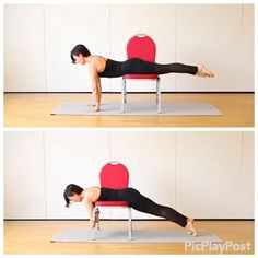 Fitness Workouts, Hiit Workout At Home, Workout Videos, At Home Workouts, Mat Pilates, Pilates Video, Chair Exercises, Chair Yoga, Workout For Beginners