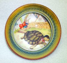 ButtonArtMuseum.com - Vegetable Ivory Button Tortoise Hare Design Under Glass Dome